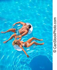 teich, verkoppeln draußen, entspannend, schwimmender