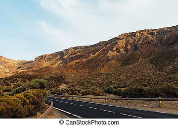 Teide landscape with road to volcano