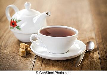 teiera, porcellana, sfondo bianco, tazza