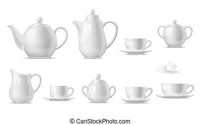 teiere, zucchero, scrematrice, ciotola, tazza, campanelle, caffè tè