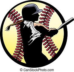 teig, closeup, softball