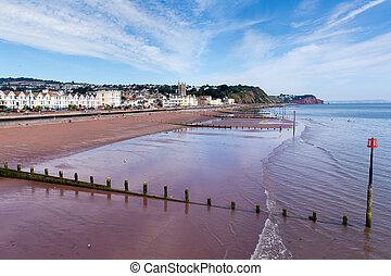 Teignmouth town beach Devon UK
