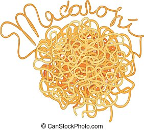 teigwaren., spaghetti, vektor, abbildung