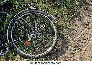 teil, a, fahrrad, mit, a, rad, lies, gras, bei, der, straße