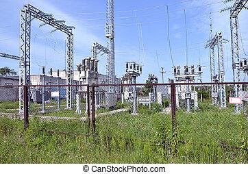 teil, elektrisch, station, technik, baugewerbe, auf, a, pflanze