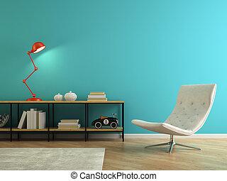 teil, inneneinrichtung, mit, retro, rotes , lampe, 3d, übertragung