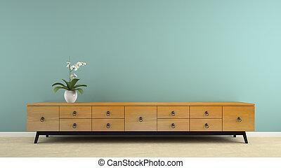 teil, inneneinrichtung, mit, stilvoll, retro, consol, und, orchidee, 3d, übertragung