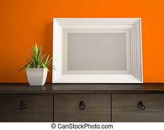 teil, inneneinrichtung, mit, weißes, rahmen, und, orange, wand, 3d, übertragung, 2