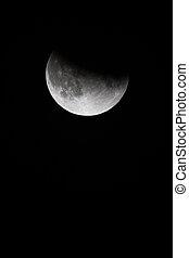 teilweise, himmelsgewölbe, finsternis, auf, schwarz, lunar, nacht, schließen, ansicht