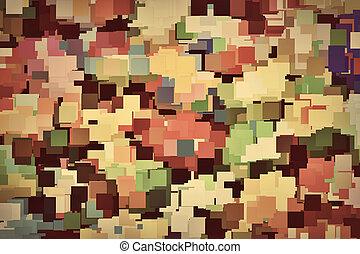 teinte, coloré, vendange, sépia, fond, carrés