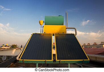 tejado, calefacción, agua, caliente, sistemas, solar