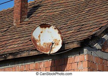 tejado, parábola, auricular de satélite