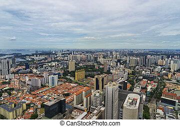 tejado, singapur, resumen, tiempo, cityscape, día