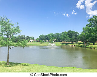 tejas, fuente, parque acuático, residencial, estados unidos ...