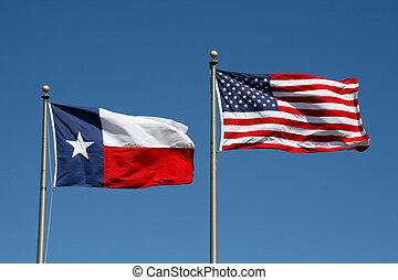tejas, y, bandera de los e.e.u.u