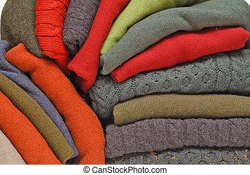 tejer, irlandés, invierno, cable, suéteres, hombres, contra...