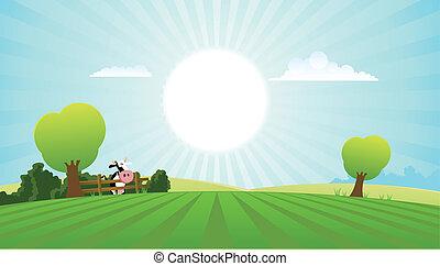 tejgazdaság tehén, alatt, nyár, táj