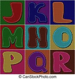 tejido, álbum de recortes, labor de retazos, alfabeto