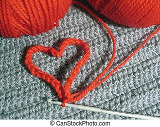 tejido, corazón, lana, clews, rojo