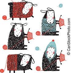 tejido de punto, astuto, sheep, garabato, caricatura,...