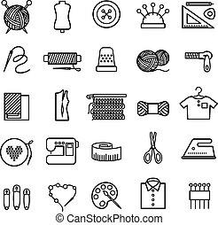 tejido de punto, costura, costura, iconos