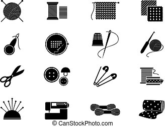tejido de punto, costura, iconos, patrón, costura, costura
