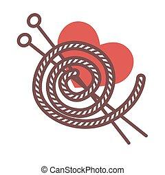 tejido de punto, hilo, metal, largo, agujas, acrílico