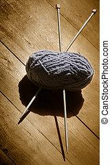 tejido de punto, madeja, lana, agujas