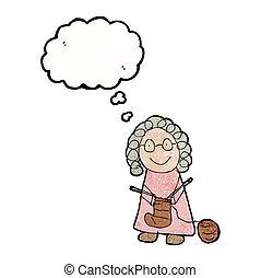 tejido de punto, mujer, viejo, dibujo, niño