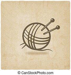 tejido de punto, símbolo, viejo, plano de fondo