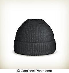 tejido, gorra, vector, negro