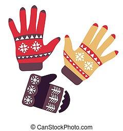 tejido, manoplas, objetos, guantes, aislado, accesorio,...