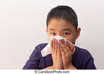 tejido, soplar, líquido, enfermedad, niño, asiático, frío, ...