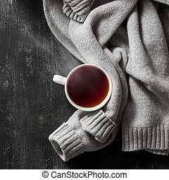 tejido, suéter, con, un, copa té