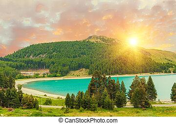 tekapo, après, coucher soleil, lac