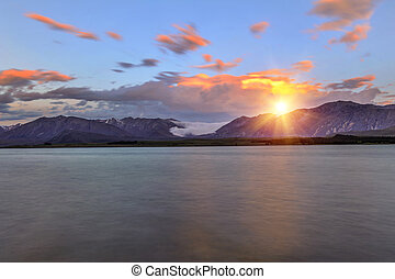 tekapo, coucher soleil, lac