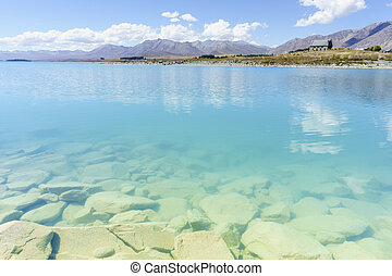 tekapo, eau, lointain, otherside, travers, lac, vue, bord