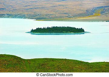 tekapo, eiland, motuariki, meer