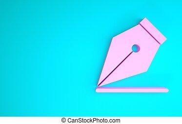 teken., 3d, nib, vrijstaand, werktuig, fontijn, roze, render, achtergrond., pen, blauwe , pictogram, minimalism, illustratie, concept.