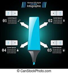 teken, abstract, 3d, tekening, infographics