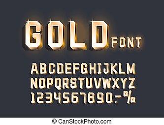 teken., alfabet, getal, gouden, vecto, retro, lettertype