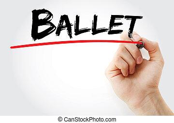 teken, ballet, hand het schrijven