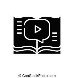 teken., black , plat, pictogram, boek, audio, illustratie, symbool, concept, vector, glyph