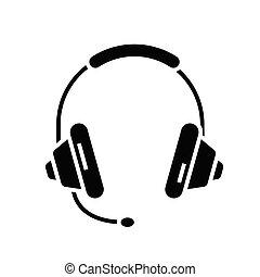 teken., black , plat, pictogram, illustratie, audio, symbool, concept, vector, standen, glyph