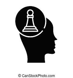 teken., black , plat, schaakspel, pictogram, speler, illustratie, symbool, concept, vector, glyph