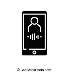 teken., black , registreren, plat, pictogram, illustratie, audio, symbool, concept, vector, glyph