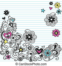 teken, doodle, sketchy, bloem, vector