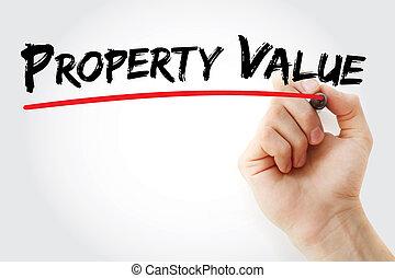 teken, eigendom, hand, waarde, schrijvende