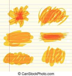 teken, gele, scribbles