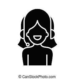 teken., gids, black , plat, pictogram, illustratie, audio, symbool, concept, vector, glyph